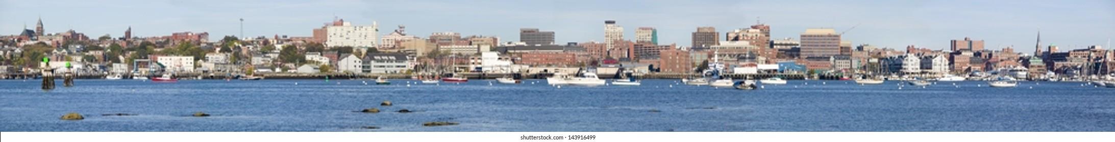 Panoramic view of Portland Harbor boats with south Portland skyline, Portland, Maine