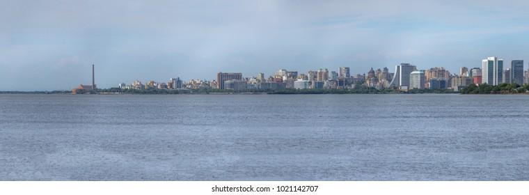 Panoramic view of Porto Alegre Skyline and Guaiba River - Porto Alegre, Rio Grande do Sul, Brazil