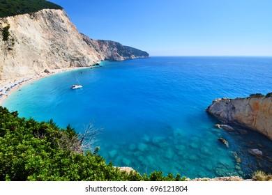 Panoramic view of Porto Katsiki beach on Lefkada in Greece