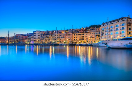 Panoramic view of Portoferraio town at dusk, Elba island in Tuscany region, Italy.