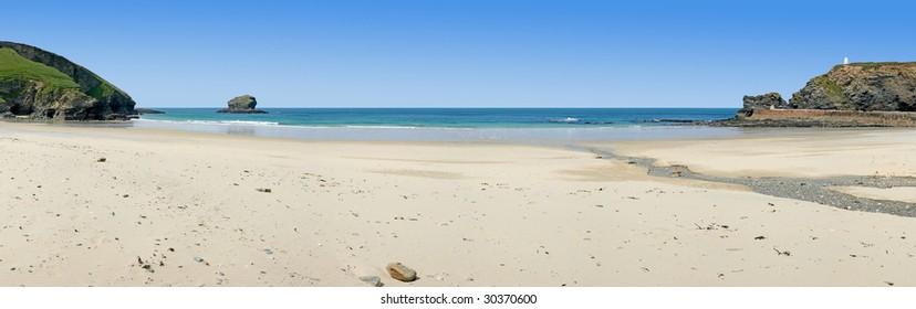 Panoramic view of Portreath beach in Cornwall, UK.