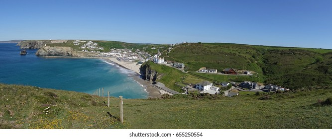 Panoramic view of Portreath beach and seaside village from western hill, Cornwall, England UK.