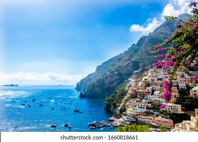 Panoramic view of Positano, famous village in the Amalfi Coast, Italy