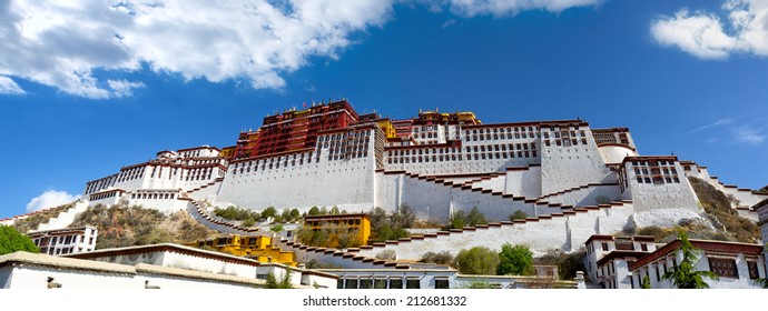 Panoramic view of Potala Palace in Lhasa, Tibet