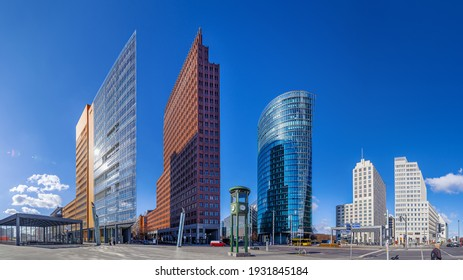 panoramic view at the potsdamer platz under a blue sky - Shutterstock ID 1931845184