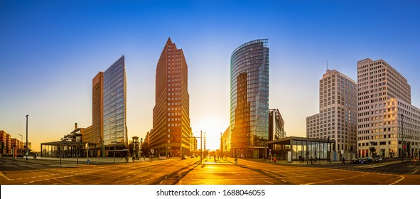 panoramic view at the potsdamer platz while sunset - Shutterstock ID 1688046055