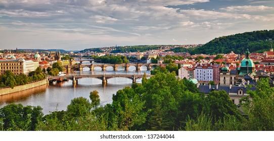 panoramic view of Prague and its bridges crossing the Vltava river