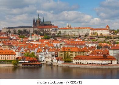 Panoramic view of Prague castle and Vltava river in Prague, Czech Republic