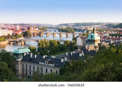 Panoramic view of Prague, the Moldau river and the Charles bridge