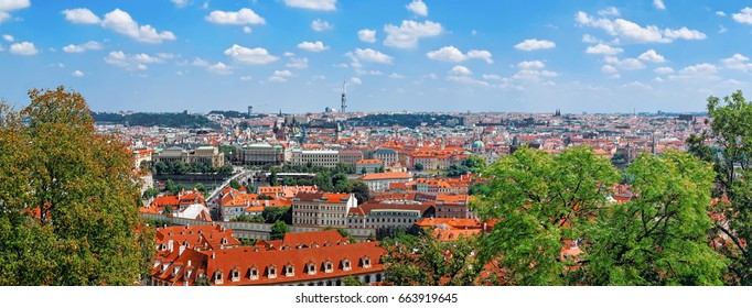 Panoramic view of Prague Old Town skyline, Czech Republic