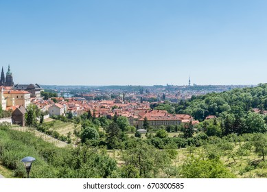 Panoramic view of Prague in the summer
