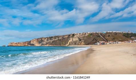 Panoramic view of Praia Da Nazare beach. Nazare, Leiria District, Portugal