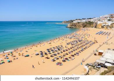 Panoramic view of Praia do Inatel in Albufeira, Algarve (Portugal)