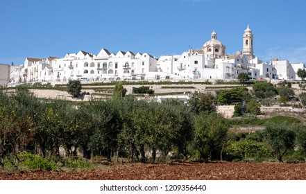 Panoramic view of the pretty town of Locorotondo, Puglia, southern Italy. Photo shows the town at the top of the hill, with terraces below.
