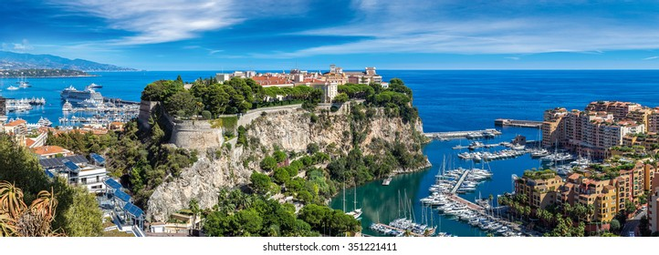 Panoramic view of prince's palace in Monte Carlo in a summer day, Monaco