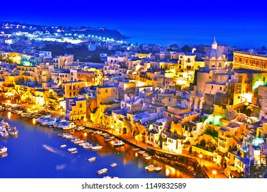 Panoramic view of Procida Island, a comune of the Metropolitan City of Naples, Campania, Italy.