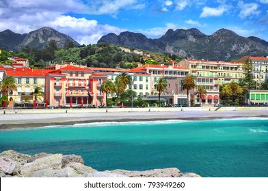 Panoramic view of promenade and old medieval town with multicolored houses of Menton, Cote-d-Azur.French Riviera,Europe,France