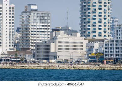 Panoramic view of the promenade and the US Embassy in Tel Aviv, Israel. Stock photo, image. November 2013. Donald Trump wants to move it to Jerusalem.