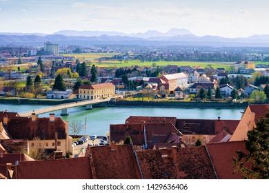 Panoramic view in Ptuj old town and Drava River in Slovenia. Architecture in Slovenija. Travel