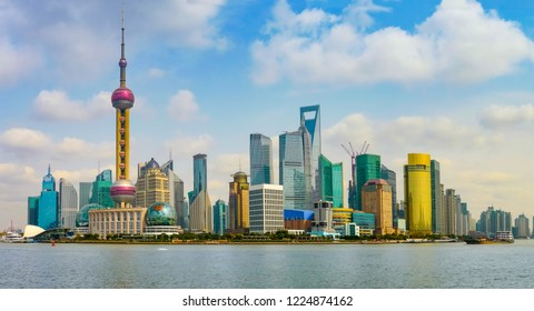 Panoramic view of Pudong district from the Bund promenade, Shanghai, China