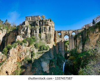 panoramic view of the puente nuevo in the ancient town of ronda Andalusia, Spain