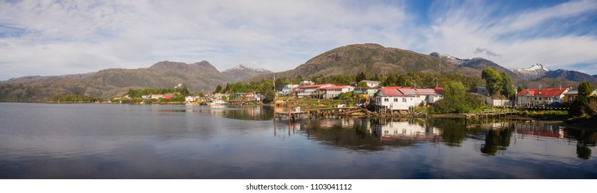 Panoramic view of Puerto Eden, south of Chile. Fiords in the Patagonia