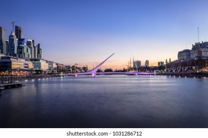 Panoramic view of Puerto Madero and Womens Bridge (Puente de la Mujer) at sunset - Buenos Aires, Argentina
