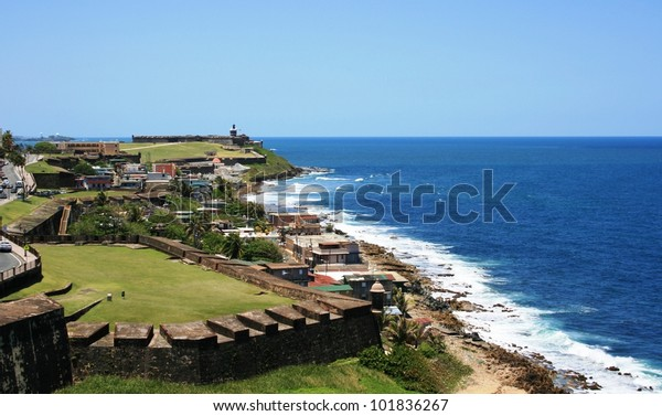Panoramic view of the Puerto Rico coastline from San Cristobal Fort, Old San Juan