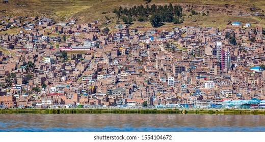 Panoramic view of Puno city in Peru