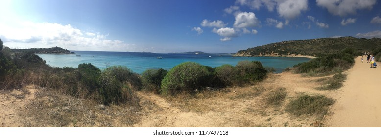 Panoramic view of Punta Molentis beach in September , Villasimius , Sardinia , Italy .