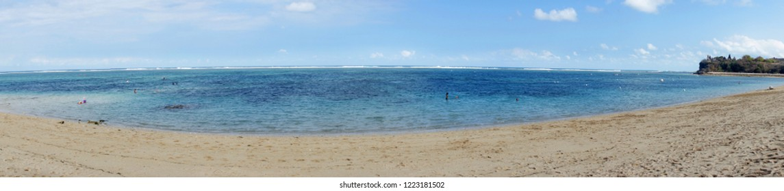 Panoramic view of Pura geger Beach. Bali, Indonesia