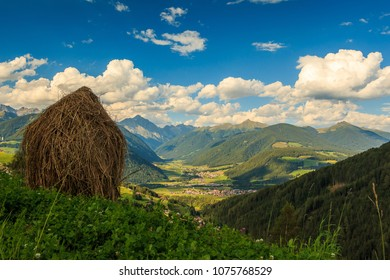 Panoramic view of Pustertal from Olang. South Tyrol, Italy.