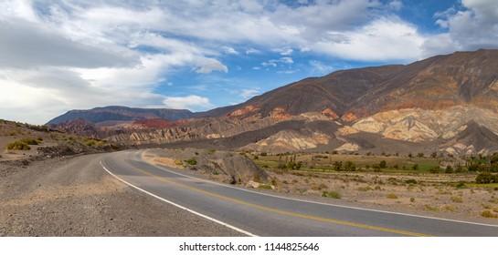 Panoramic view of Quebrada del Toro Mountains and Railroad in Northern Salta Puna - Quebrada del Toro, Salta, Argentina