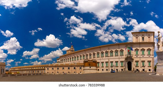 Panoramic view of Quirinal Palace or Palazzo del Quirinale as seen from Piazza del Quirinale in the sunny day, Rome, Italy.