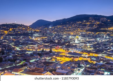 Panoramic view of Quito at Night, Ecuador