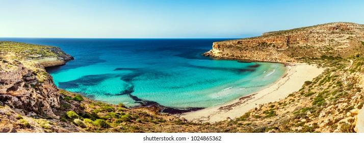 A panoramic view of the Rabbit Beach, Lampedusa.