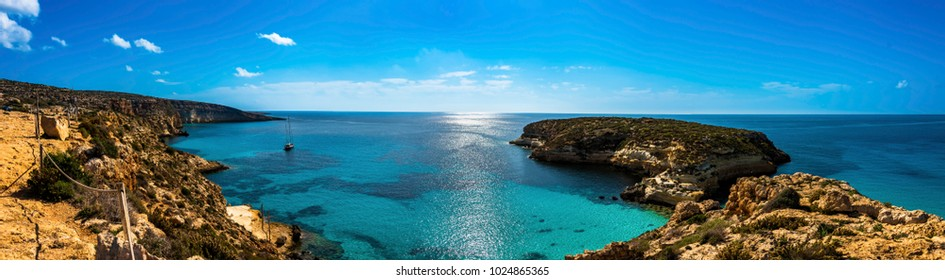 A panoramic view of the Rabbit Beach, Lampedusa.