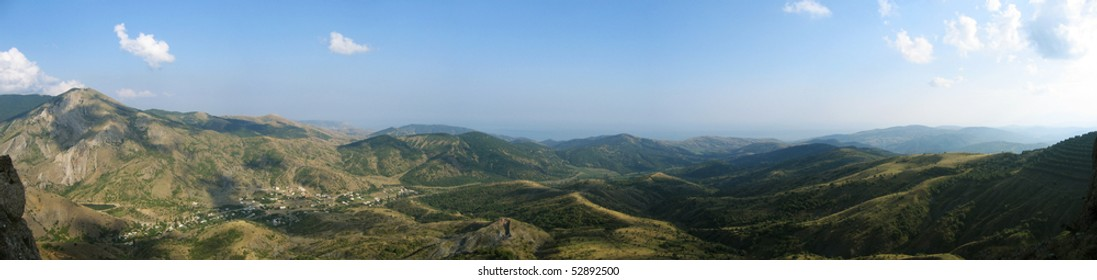 panoramic view of range of hills