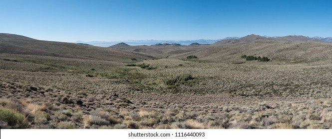 A panoramic view of the range land at about 8,000' on California Route 270, the Bodie Road. Looking south towards Mono Lake.
