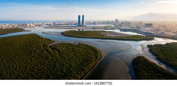 Panoramic view of Ras al Khaimah over mangrove forest in the UAE United Arab Emirates aerial