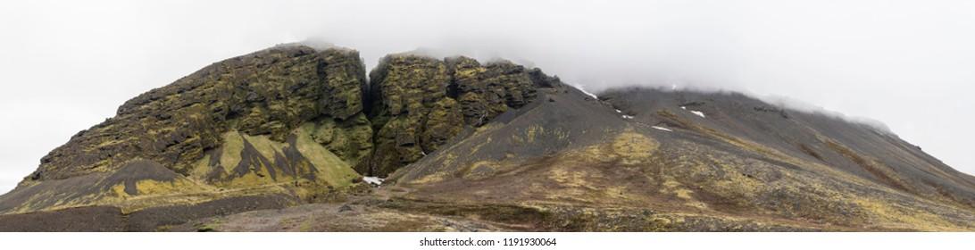 Panoramic view of Raudfeldsgja Gorge on a foggy day, Snaefellsnes Peninsula, Iceland