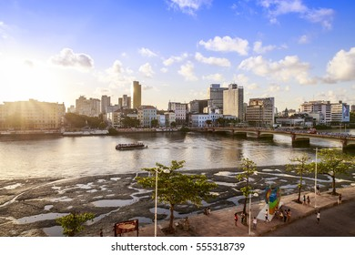 Panoramic view of Recife in Pernambuco, Brazil at sunset.