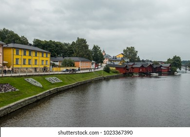 Panoramic view of the Red fisherman houses on the riverbank of Porvoo river. Porvoo, Finland. Old town of Porvoo in Finland