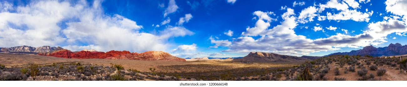 Panoramic View of Red Rock Canyon National Conservation Area Near Las Vegas, Nevada