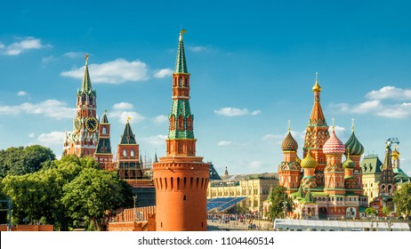Panoramic view of the Red Square with Moscow Kremlin and St Basil's Cathedral, Moscow, Russia. Beautiful postcard of Moscow in summer. Sunny panorama of the heart of Moscow.