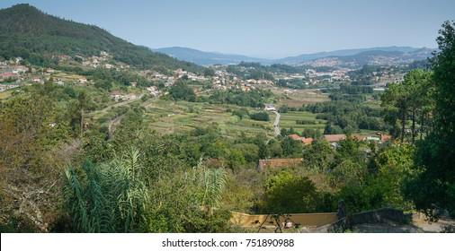 Panoramic view to Redondela and the bay Ria de Vigo, Galicia, Spain