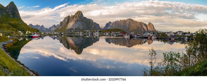 Panoramic view of Reine village in Lofoten, Norway