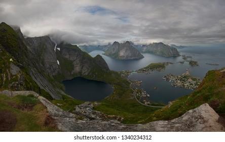 Panoramic view from Reinebringen, Lofoten Islands, Norway