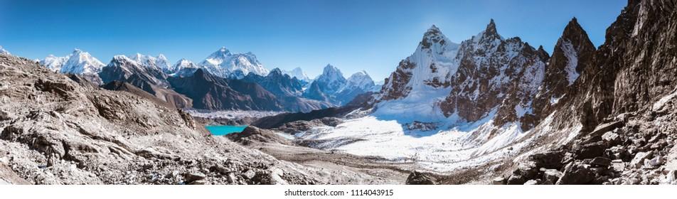 Panoramic view from Renjo La (5,360m) facing to Gokyo Lake and Himalayan Mountains such as Everest, Nuptse, Lhotse and Phari Lapcha, Sagarmatha national park, Everest Base Camp 3 Passes Trek, Nepal