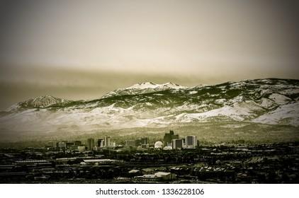 Panoramic view of Reno skyline. February 2019.
